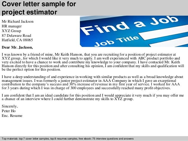 Awesome Cover Letter Sample For Project Estimator ...