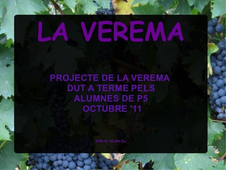LA VEREMAPROJECTE DE LA VEREMA   DUT A TERME PELS    ALUMNES DE P5     OCTUBRE 11        EDICIÓ: SÍLVIA O   .