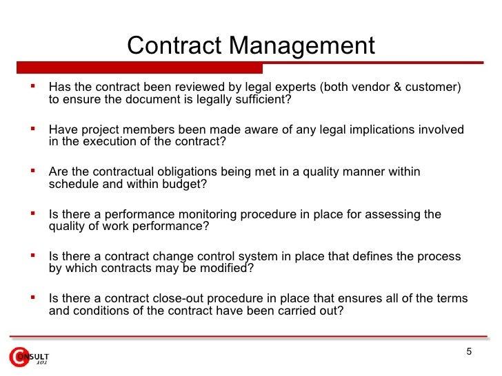 Project Execution Control Checklist