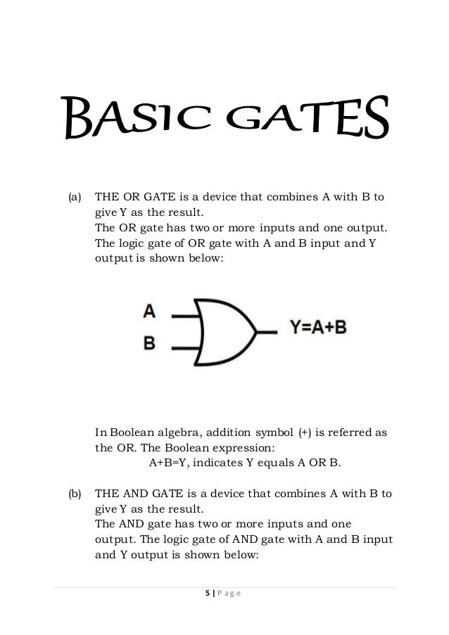 Physics Investigatory Project Class 12 On Logic Gates Boolean Algebra