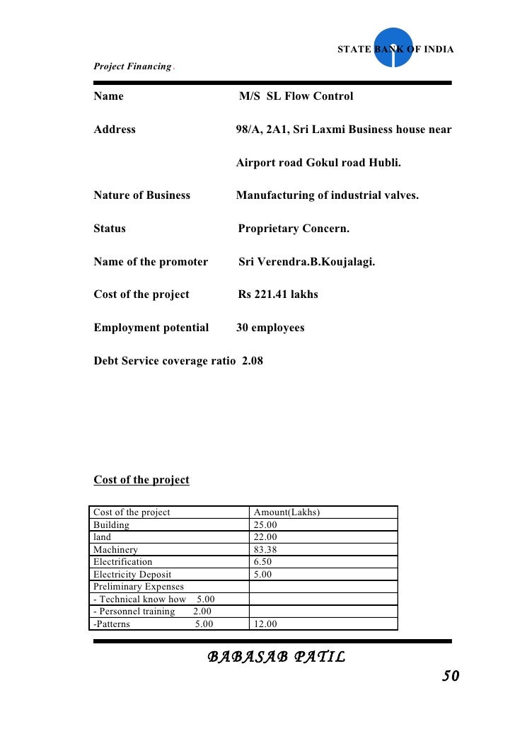 project report for bank loan format project financed sbi project report mba finance