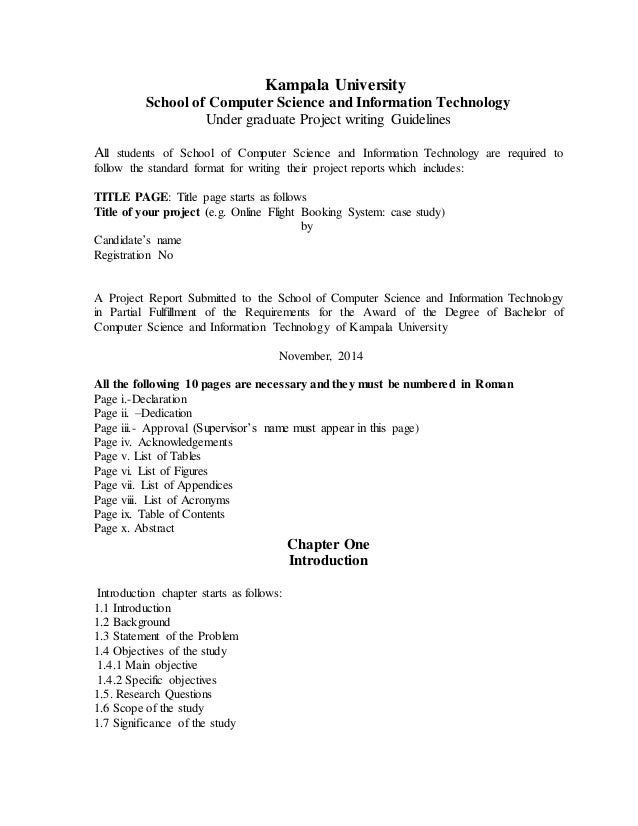 Project Format Of Kampala University For Computer Science