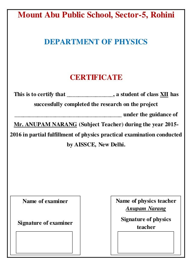 project title page format