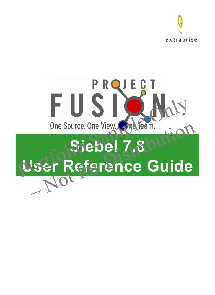 Siebel 7.8 User Reference Guide
