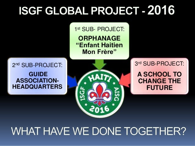 3rd SUB-PROJECT: A SCHOOL TO CHANGE THE FUTURE 2nd SUB-PROJECT: GUIDE ASSOCIATION- HEADQUARTERS 1st SUB- PROJECT: ORPHANAG...
