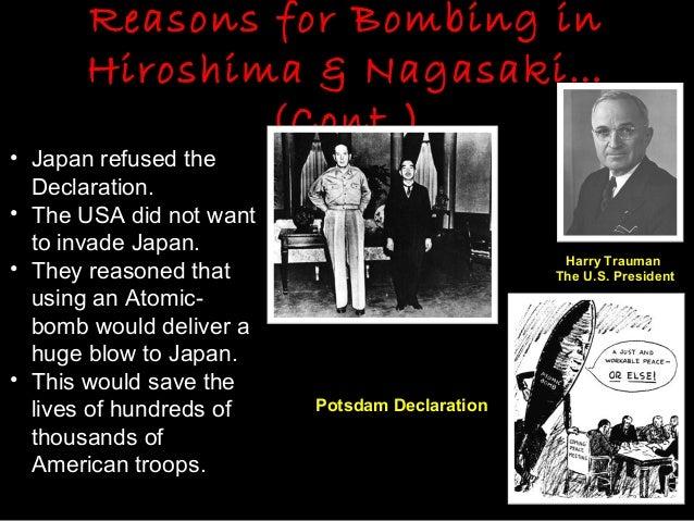 Reasons why americans drop the atomic bombs on hiroshima and nagasaki