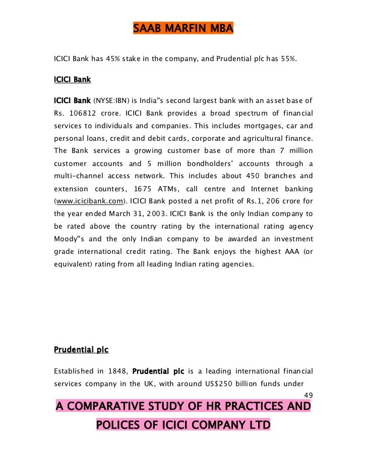 A COMPARATIVE STUDY OF HR POLICES OF ICICI COMPANY LTD