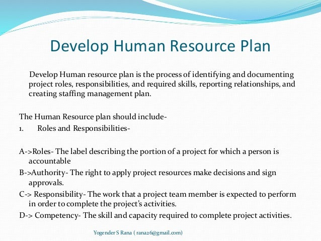 Project human resource management for Human resource plan template pmbok