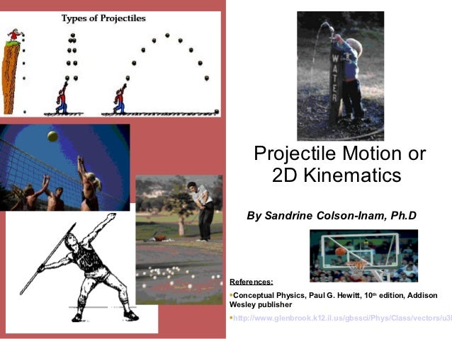 Projectile Motion or           2D Kinematics       By Sandrine Colson-Inam, Ph.DReferences:Conceptual Physics, Paul G. Hew...