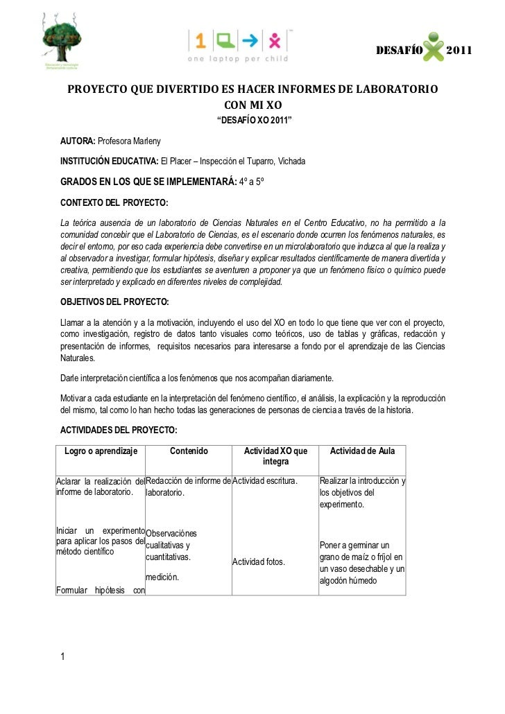 DESAFÍO                  2011     PROYECTO QUE DIVERTIDO ES HACER INFORMES DE LABORATORIO                            CON M...