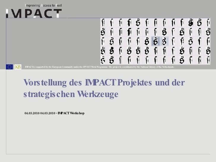 Vorstellung des IMPACT Projektes und der strategischen Werkzeuge
