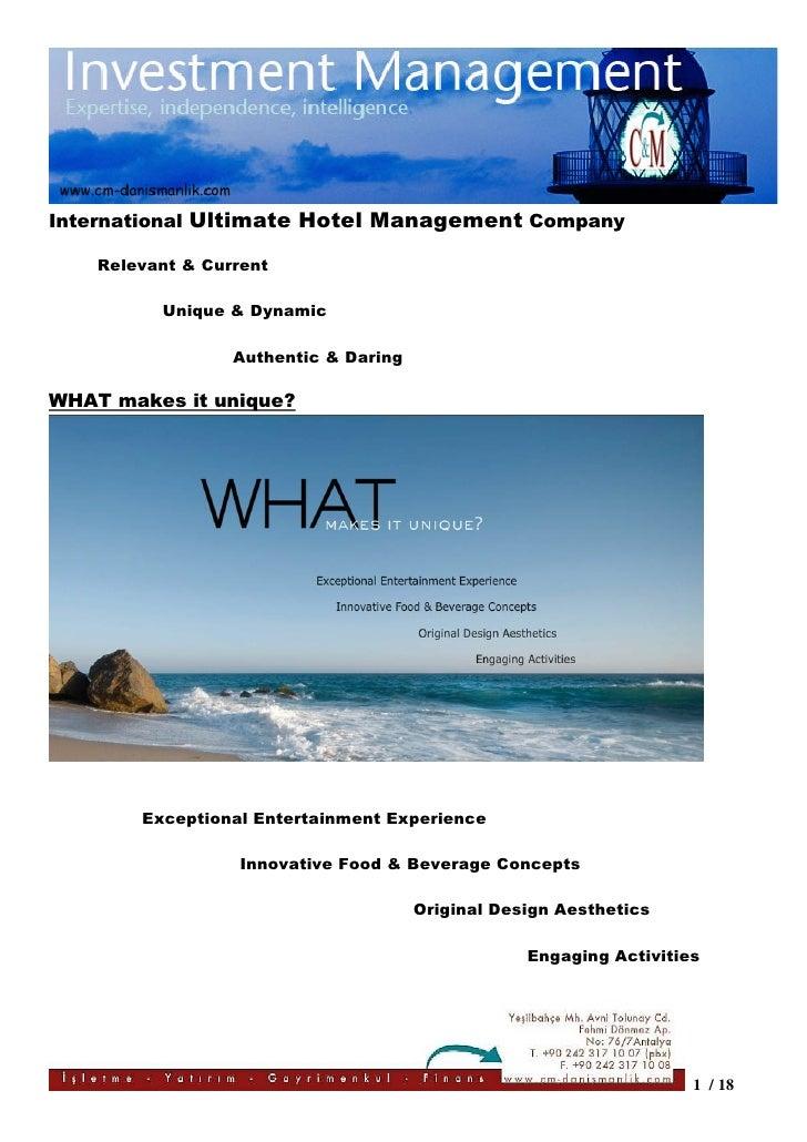 International Ultimate Hotel Management Company    Relevant & Current          Unique & Dynamic                  Authentic...