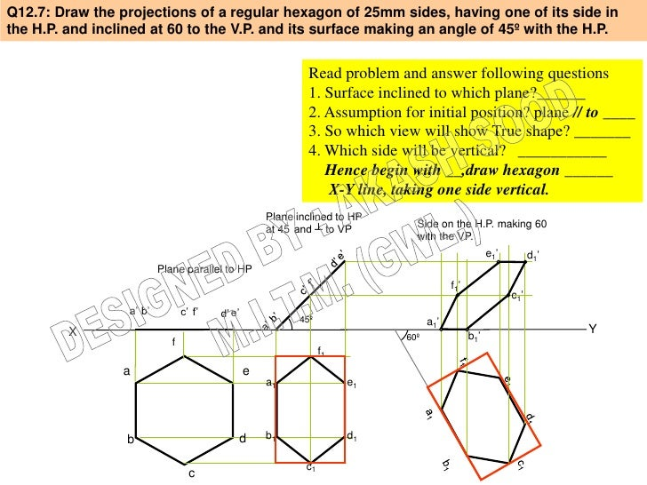 Q12.7: Draw the projections of a regular hexagon of 25mm sides, having one of its side inthe H.P. and inclined at 60 to th...