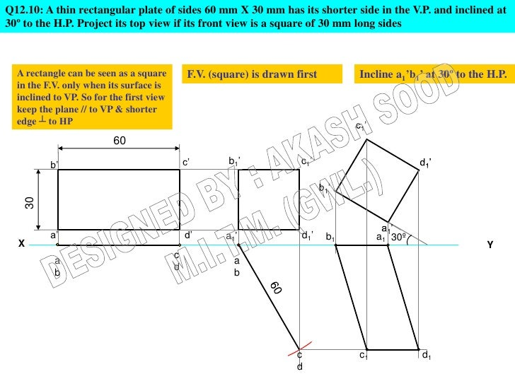 Q12.10: A thin rectangular plate of sides 60 mm X 30 mm has its shorter side in the V.P. and inclined at30º to the H.P. Pr...
