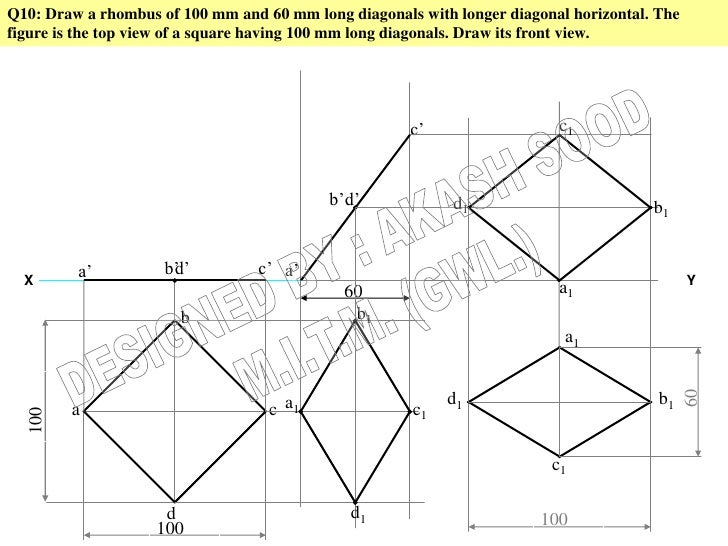 Q10: Draw a rhombus of 100 mm and 60 mm long diagonals with longer diagonal horizontal. Thefigure is the top view of a squ...