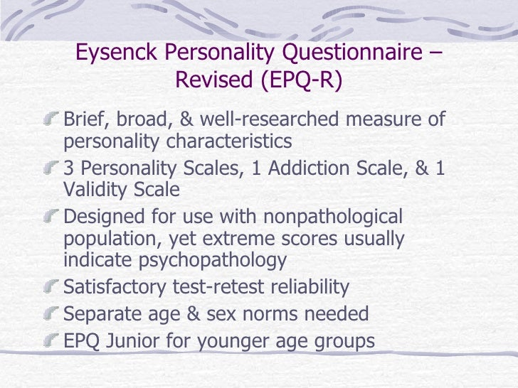 projective techniques and other personality measures rh slideshare net eysenck personality questionnaire manual pdf Eysenck Hierarchical Model of Personality