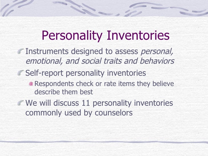 personal inventories