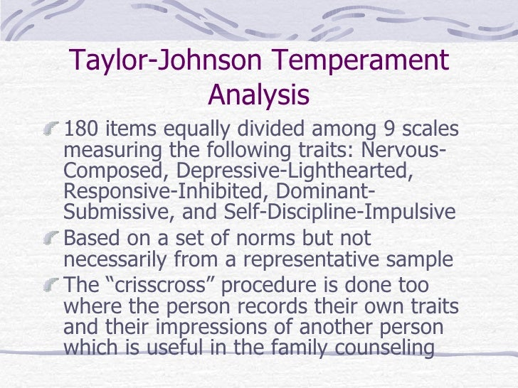 Temperament Analysis/Personality Typing*