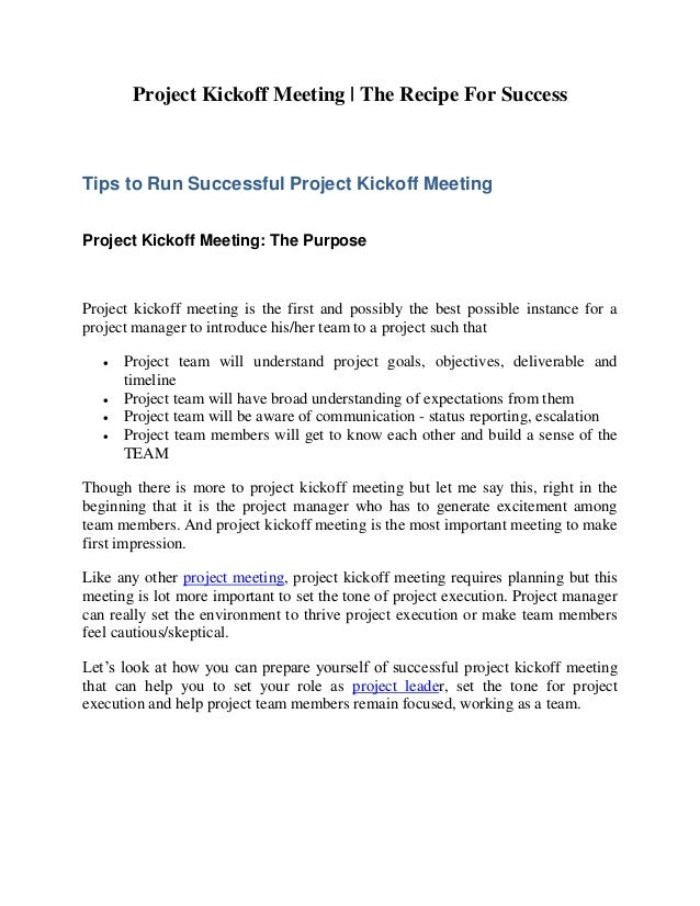 Project Kickoff Meeting The Recipe For Success