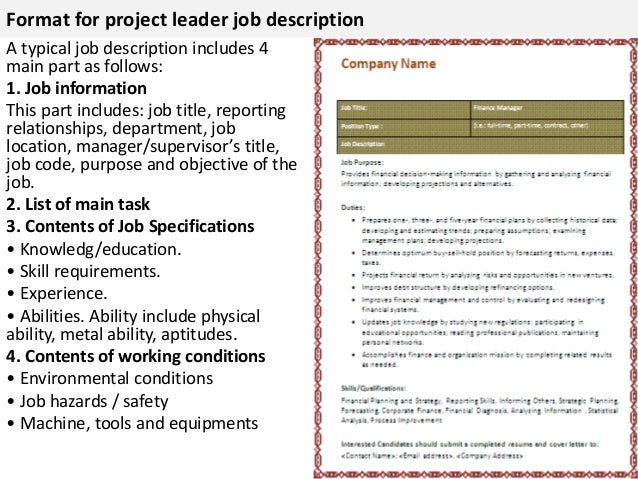 job description project manager