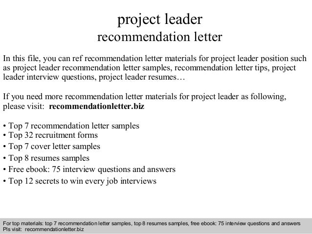 Beautiful Interview Questions And Answers U2013 Free Download/ Pdf And Ppt File Project Leader  Recommendation Letter ...