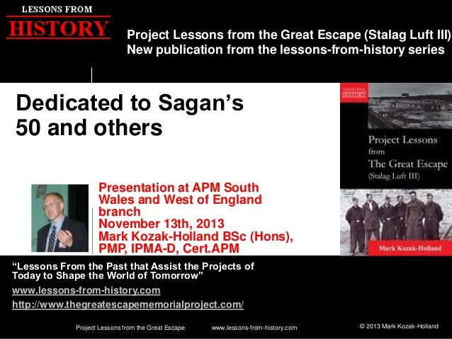 Project Lessons from the Great Escape (Stalag Luft III) New publication from the lessons-from-history series  Dedicated to...