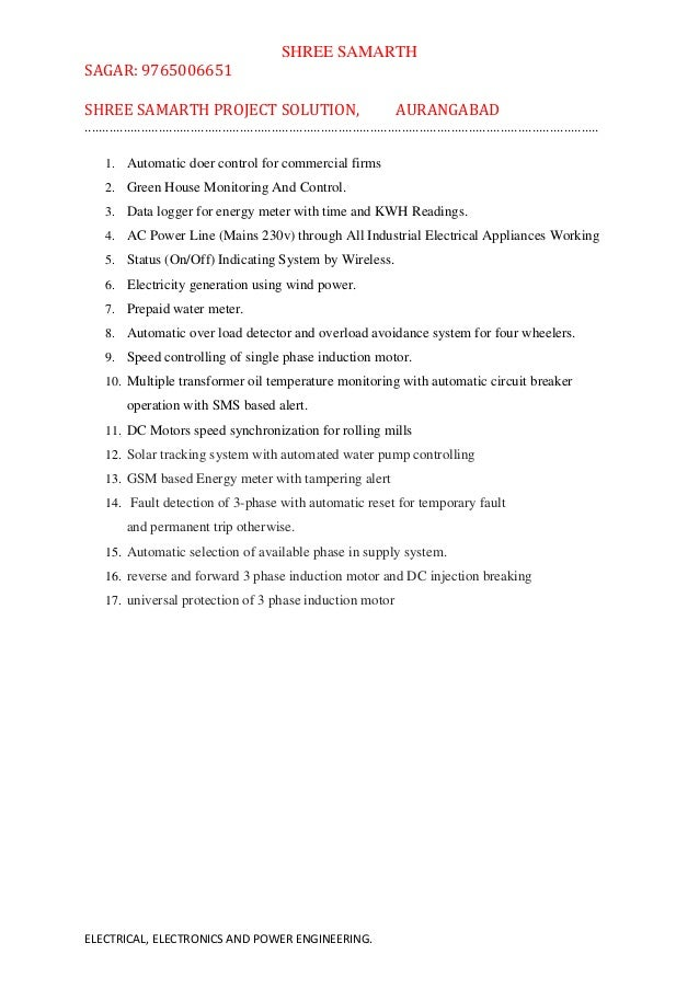 mechanical electronics electrical engineering project list for b e