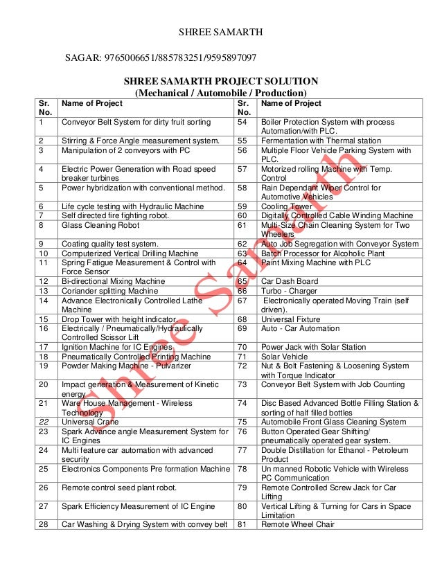 Mechanical Electronics Electrical Engineering Project List For BE