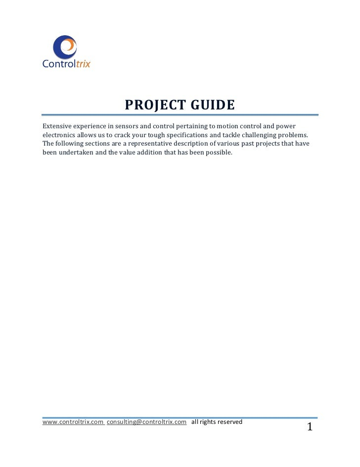 PROJECT GUIDEExtensive experience in sensors and control pertaining to motion control and powerelectronics allows us to cr...