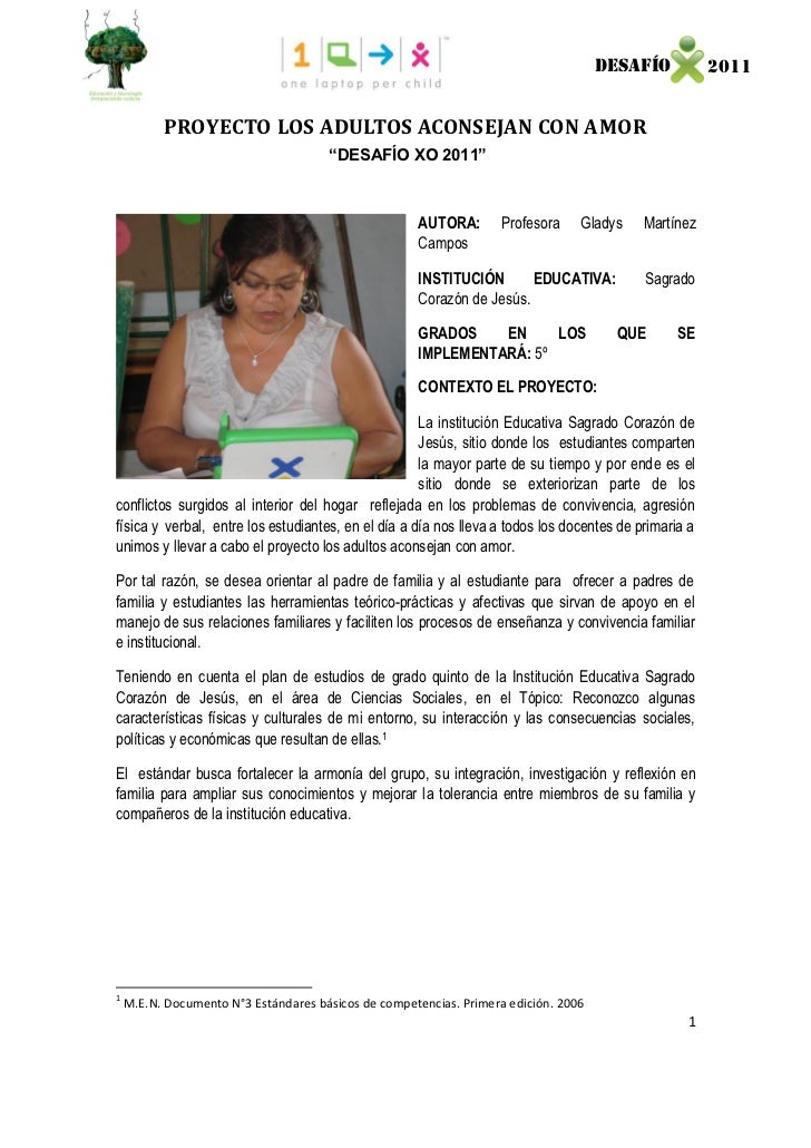 """DESAFÍO           2011          PROYECTO LOS ADULTOS ACONSEJAN CON AMOR                                      """"DESAFÍO XO 2..."""