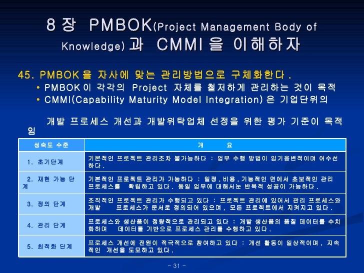 8 장  PMBOK (Project Management Body of Knowledge) 과  CMMI 을 이해하자 45. PMBOK 을 자사에 맞는 관리방법으로 구체화한다 . •   PMBOK 이 각각의  Projec...