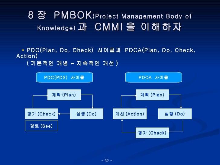 8 장  PMBOK (Project Management Body of Knowledge) 과  CMMI 을 이해하자 •   PDC(Plan, Do, Check)  사이클과  PDCA(Plan, Do, Check, Act...