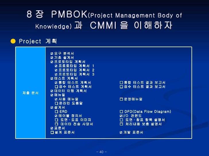 8 장  PMBOK (Project Management Body of Knowledge) 과  CMMI 을 이해하자 ●  Project  계획 □ 통합 테스트 결과 보고서 □ 검수 테스트 결과 보고서 □ 운영매뉴얼 □ ...