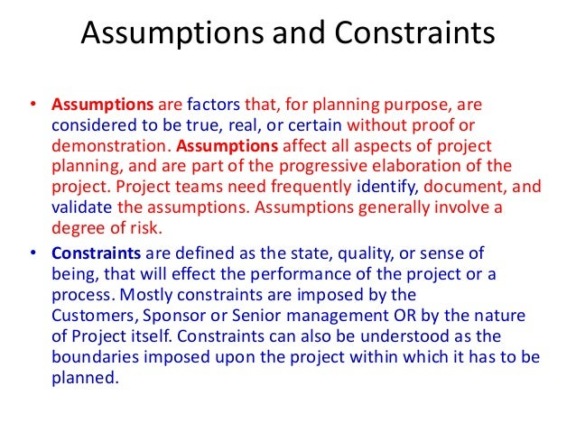project assumptions Every website project begins with high expectations, but the devil is in the details  critical content assumptions hold the key to a successful.
