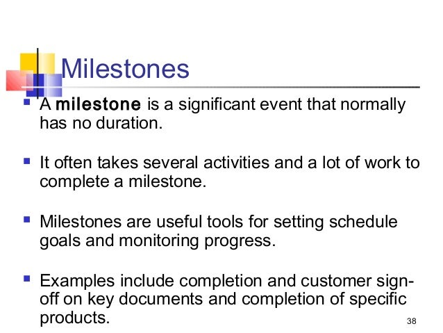 milestone in project management example