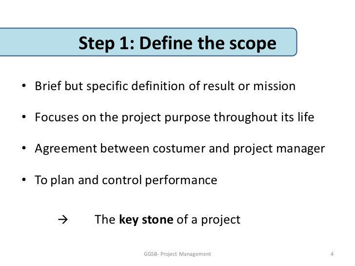 Project management: defining the project