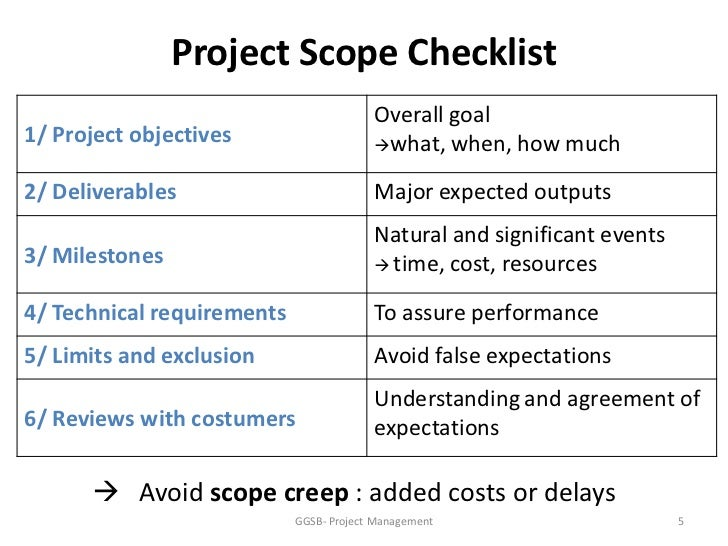 project scope and exclusions These exclusions are specifically depending on the complexity profile of the project, the development of the project scope document can be a short discussion.