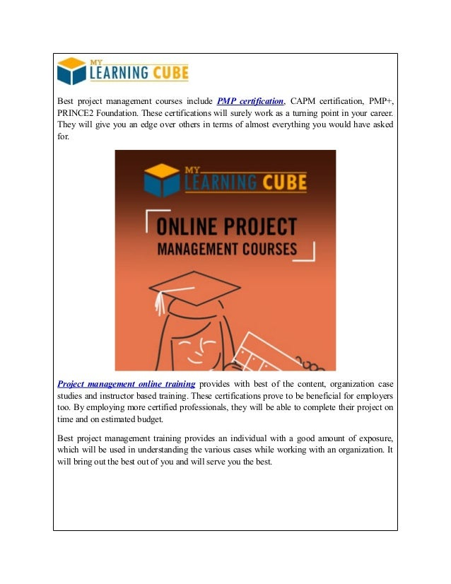 Project Management Training And Certification Mylearningcube