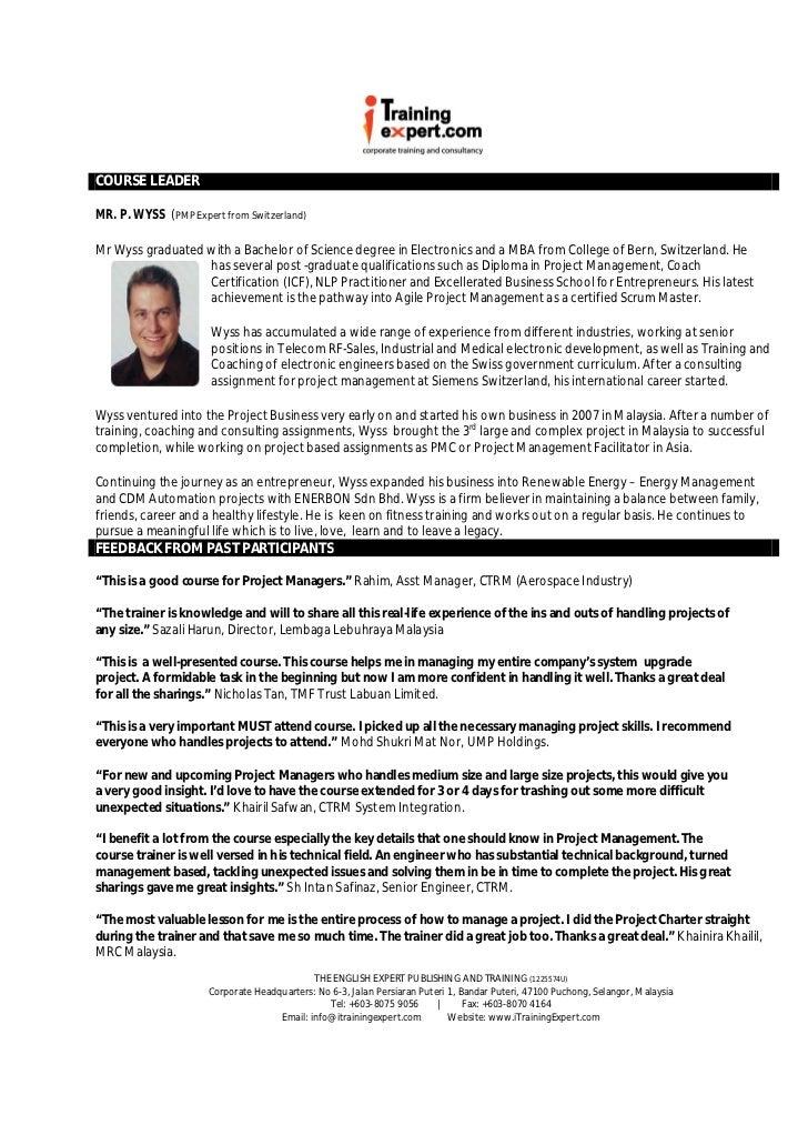 Project Management 2 Days Fast Track Public Program Course Brochure