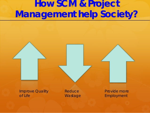 How SCM & Project Management help Society? Improve Quality of Life Reduce Wastage Provide more Employment
