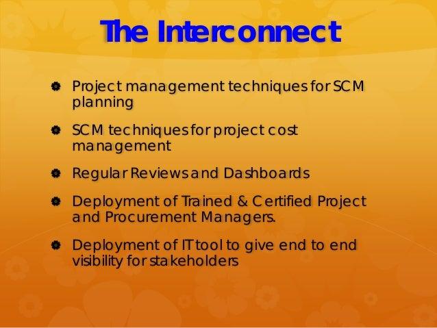 The Interconnect  Project management techniques for SCM planning  SCM techniques for project cost management  Regular R...