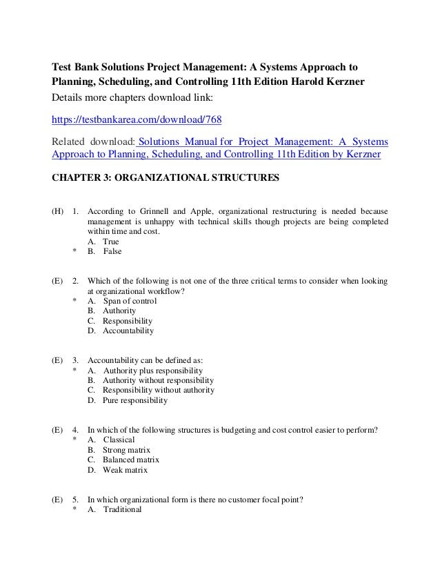 project management a systems approach to planning  scheduling  and co project management harold kerzner solution manual pdf project management by harold kerzner 10th edition solution manual