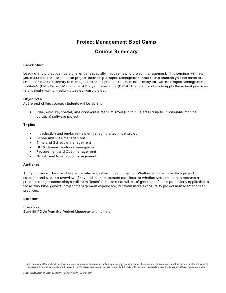 Project Management Boot Camp                                                                          Course SummaryDescri...
