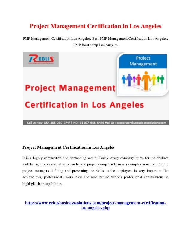 Project Management Certification In Los Angeles