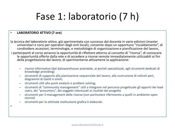 Fase 1: laboratorio (7 h)<br />LABORATORIO ATTIVO (7 ore)<br />la tecnica del laboratorio attivo, già sperimentata con suc...