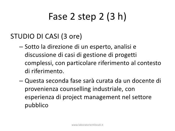 Fase 2 step 2 (3 h)<br />studio di casi (3 ore)<br />Sotto la direzione di un esperto, analisi e discussione di casi di ge...