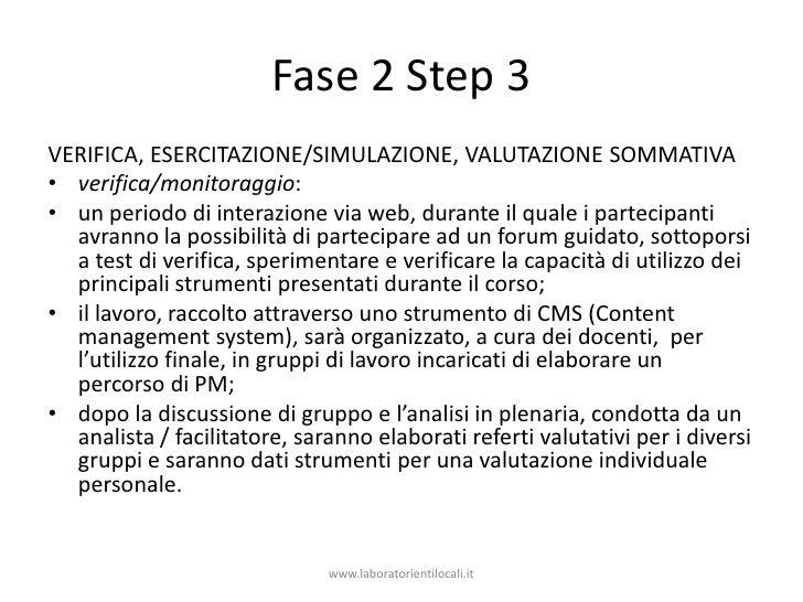 Fase 2 Step 3<br />Verifica, esercitazione/simulazione, valutazione sommativa<br />verifica/monitoraggio:<br />un periodo ...