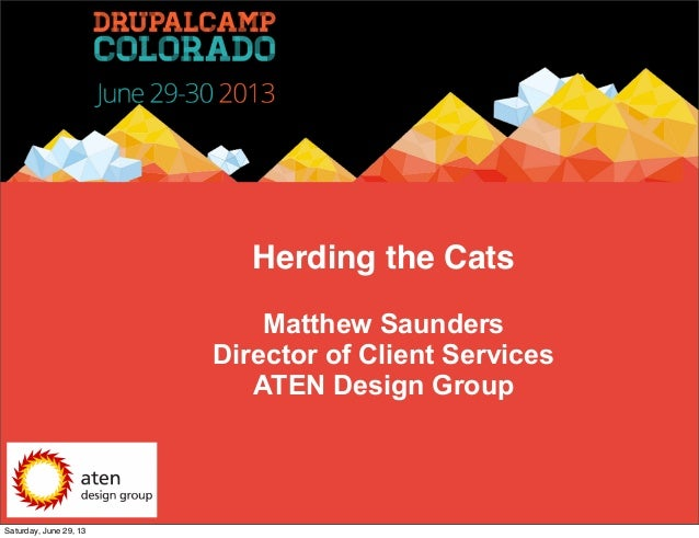 Herding the Cats Matthew Saunders Director of Client Services ATEN Design Group Saturday, June 29, 13