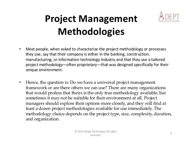 Project management essentials for Project management methodology template
