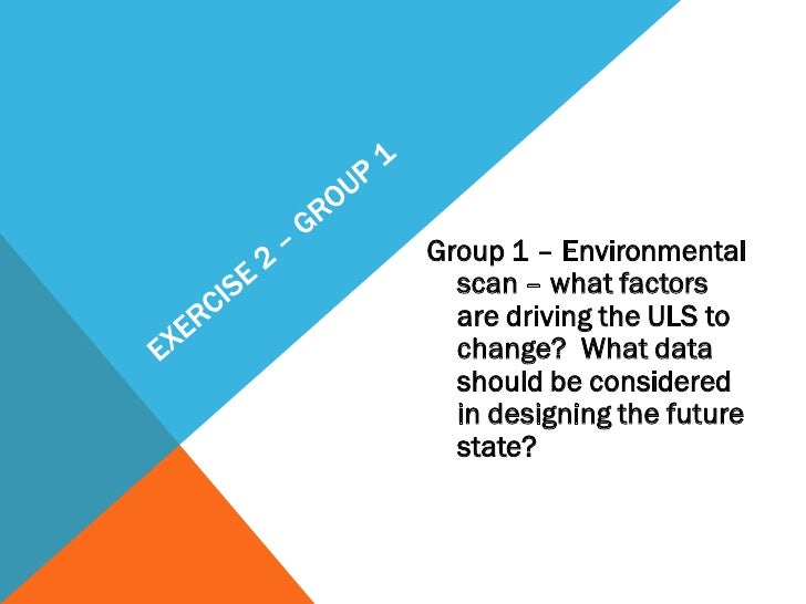 Group 1 – Environmental  scan – what factors  are driving the ULS to  change? What data  should be considered  in designin...